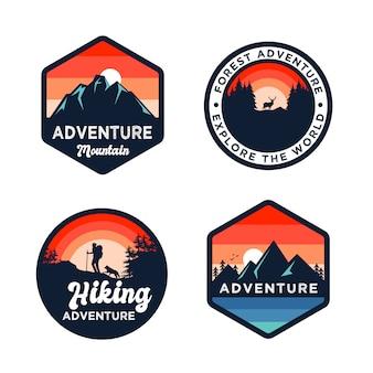 Conjunto de crachá de montanhas de aventura