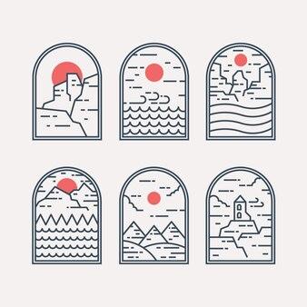 Conjunto de crachá de paisagem em estilo linear. desenho de distintivo e emblema. ilustração do logotipo.