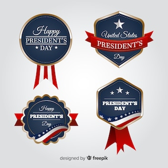 Conjunto de crachá de presidentes dia