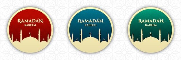 Conjunto de crachá do ramadã kareem