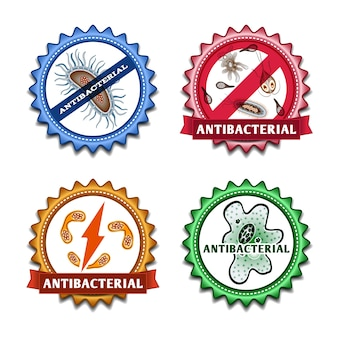 Conjunto de crachás antibacterianos