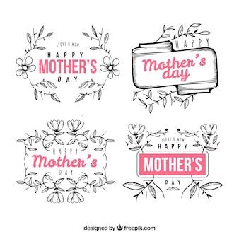 Conjunto de crachás de dia das mães com ornamentos florais