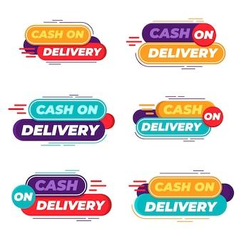 Conjunto de crachás de pagamento na entrega