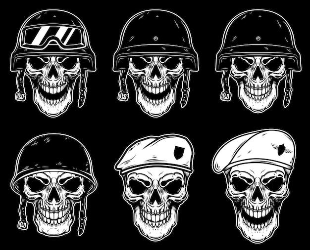 Conjunto de crânio de soldado em capacete de batalha e boina de pára-quedista.