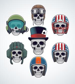 Conjunto de crânios com capacetes militares, esportivos e de corrida