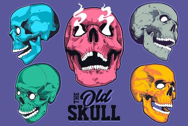 Conjunto de crânios de pop art com diferentes cores vibrantes, isolados no fundo roxo. coleção de crânios de vetor.