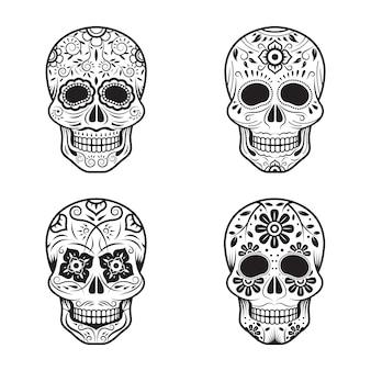 Conjunto de crânios do dia dos mortos em preto e branco