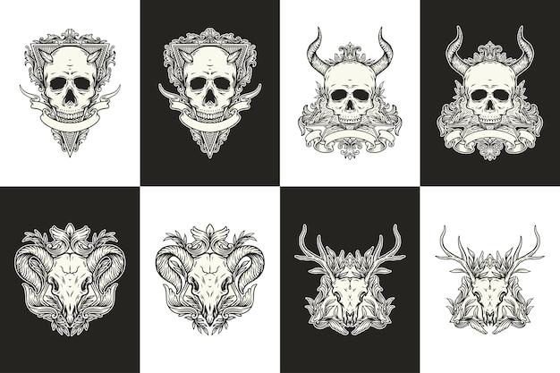 Conjunto de crânios e chifres em preto e branco com ilustração de ornamento floral vintage