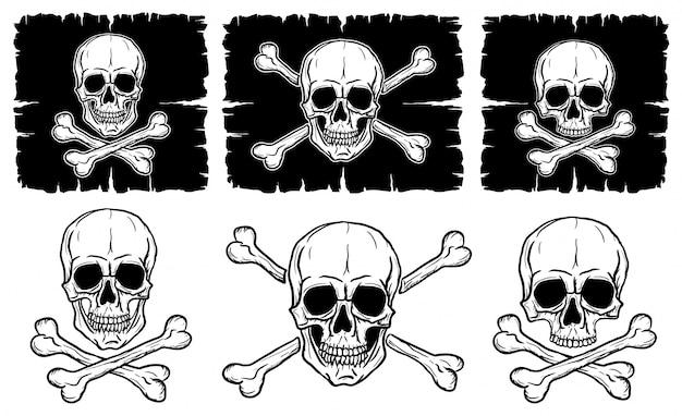 Conjunto de crânios e ossos cruzados isolado sobre fundo branco. desenho à mão livre de crânios humanos.