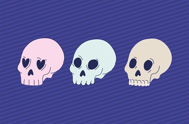 Conjunto de crânios esotéricos em um desenho de ilustração roxa