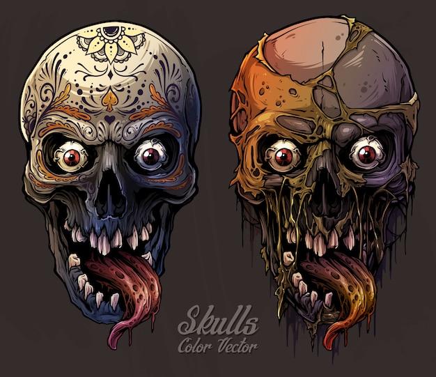Conjunto de crânios humanos coloridos gráficos detalhados