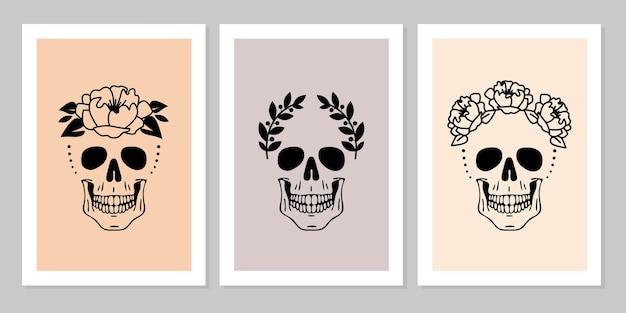 Conjunto de crânios humanos com coroa de louros de flores bela coleção de retrato de crânio humano