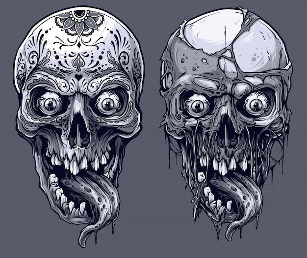 Conjunto de crânios humanos preto e brancos gráficos detalhados