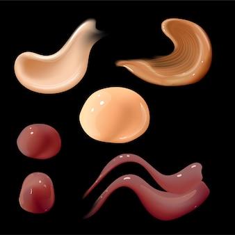 Conjunto de creme cosmético realista para manchas de toner na pele de diferentes cores corporais, loção, mancha suave em preto