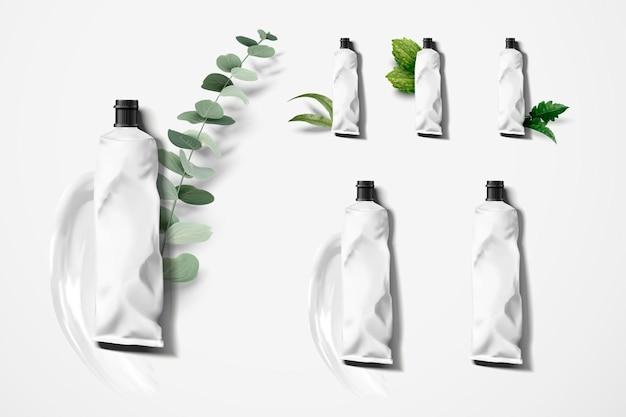 Conjunto de creme para as mãos em branco, tubos brancos com ervas e creme na ilustração 3d