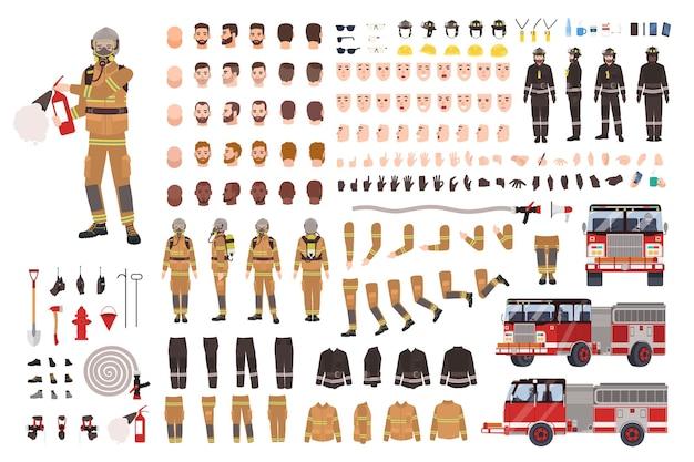 Conjunto de criação de bombeiro ou kit diy.