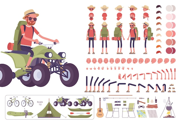 Conjunto de criação de caminhadas, turista masculino com equipamento de mochila