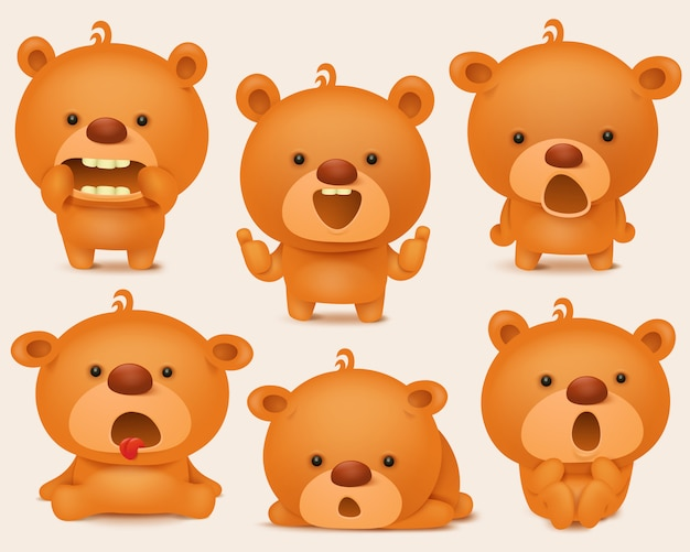 Conjunto de criação de caracteres de urso de pelúcia com diferentes emoções.