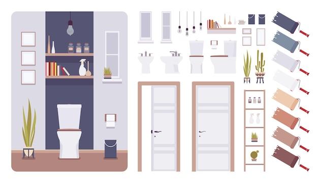 Conjunto de criação de design de banheiro e interior de banheiro, ideias de decoração de banheiro, kit com móveis de banheiro, elementos de construção para construir seu próprio projeto