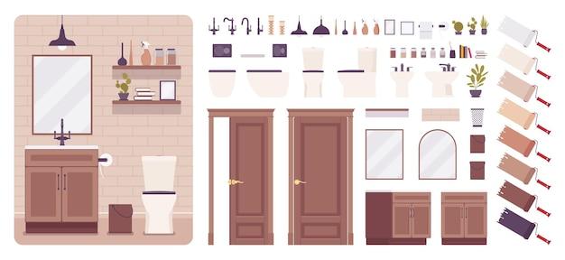 Conjunto de criação de design de banheiro e interior de banheiro, ideias de decoração de banheiro, kit de móveis de banheiro, elementos de construção para construir seu próprio projeto
