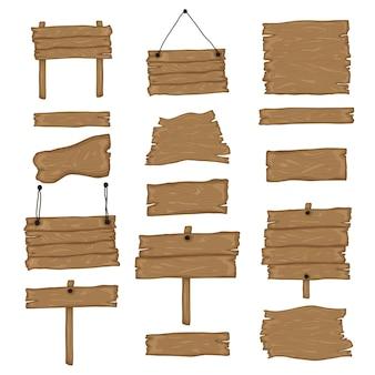 Conjunto de criação de letreiro luminoso. construa seu próprio design. tábuas de madeira de diferentes formas e tamanhos. ilustração do estilo dos desenhos animados - vetor.