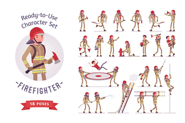 Conjunto de criação de personagem bombeiro masculino