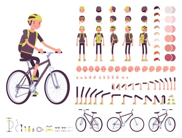 Conjunto de criação de personagem de ciclista masculino