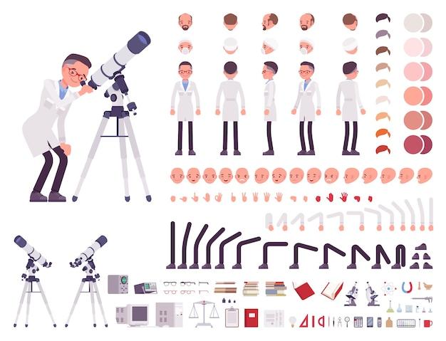 Conjunto de criação de personagem de cientista