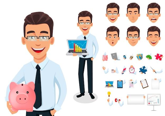 Conjunto de criação de personagem de desenho animado de empresário