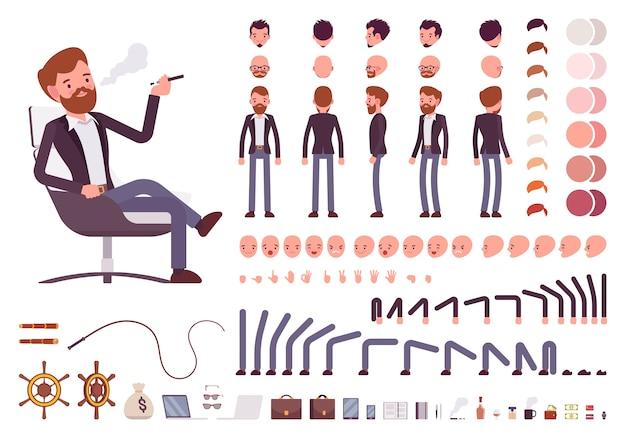 Conjunto de criação de personagem de gerente masculino