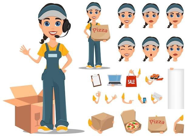 Conjunto de criação de personagem de mulher de courier