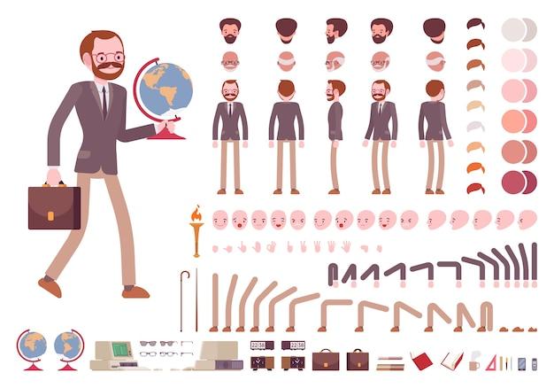 Conjunto de criação de personagem de professor masculino
