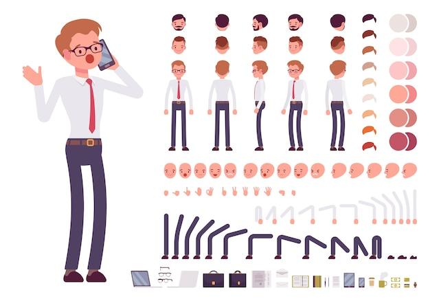Conjunto de criação de personagem escriturário masculino