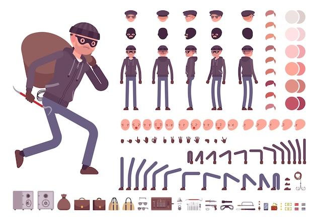 Conjunto de criação de personagem ladrão masculino