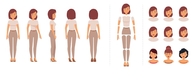 Conjunto de criação de personagem mulher chique elegante para animação com modelo de emoções