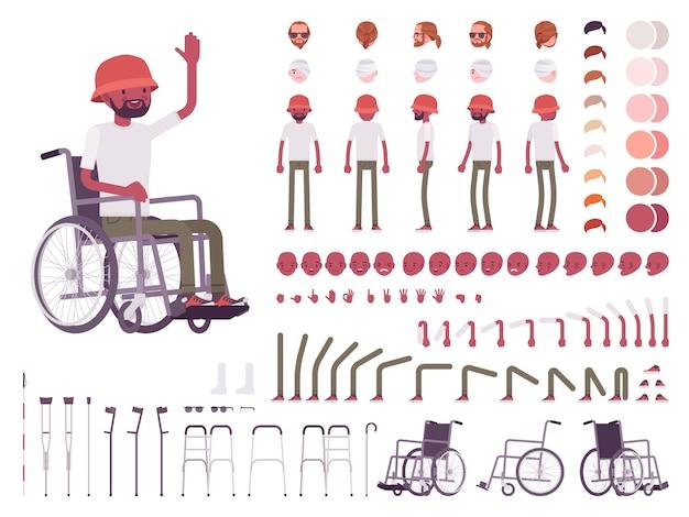 Conjunto de criação de personagens para cadeiras de rodas masculinas