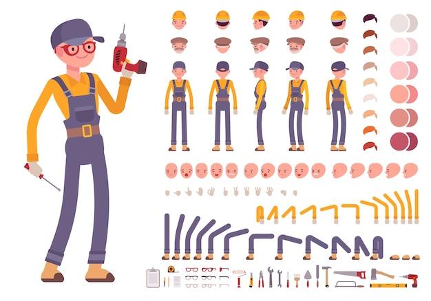 Conjunto de criação de trabalhador da construção civil masculino