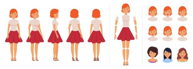 Conjunto de criação para personagem feminina de desenho animado menina elegante para animação com modelo de emoções