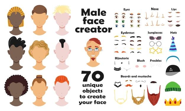 Conjunto de criador de rosto masculino de modelos de retratos e setenta objetos exclusivos para criar ilustração plana de rosto