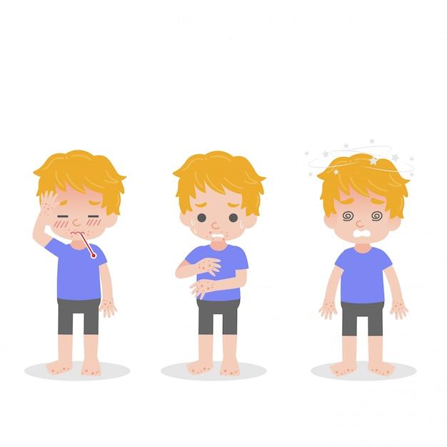 Conjunto de criança com febre