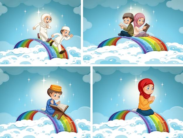 Conjunto de criança de casal muçulmano no arco-íris no céu