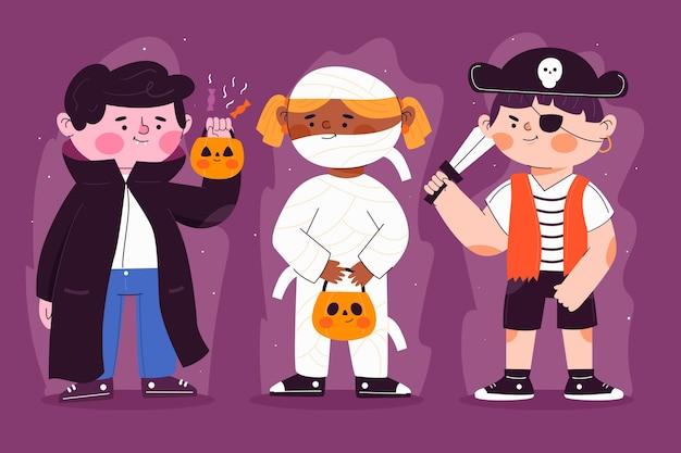 Conjunto de criança de halloween de design plano