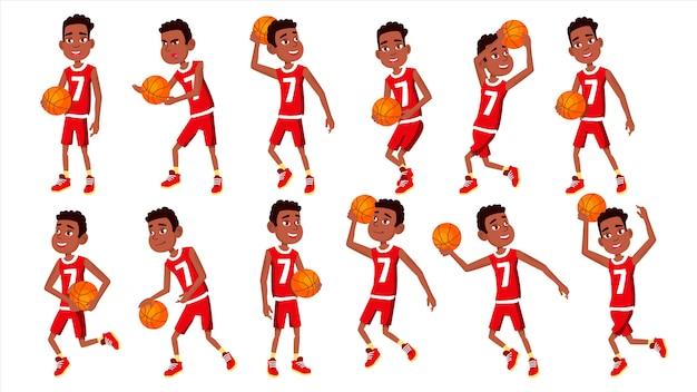 Conjunto de criança de jogador de basquete
