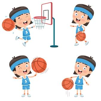 Conjunto de criança jogando basquete