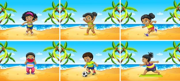 Conjunto de crianças africanas exercício na praia