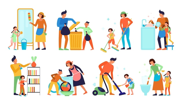 Conjunto de crianças ajudando os pais na limpeza da casa