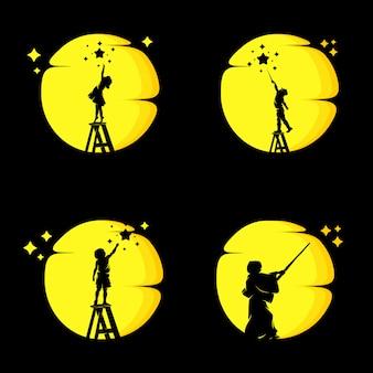 Conjunto de crianças alcançando sonhos na lua