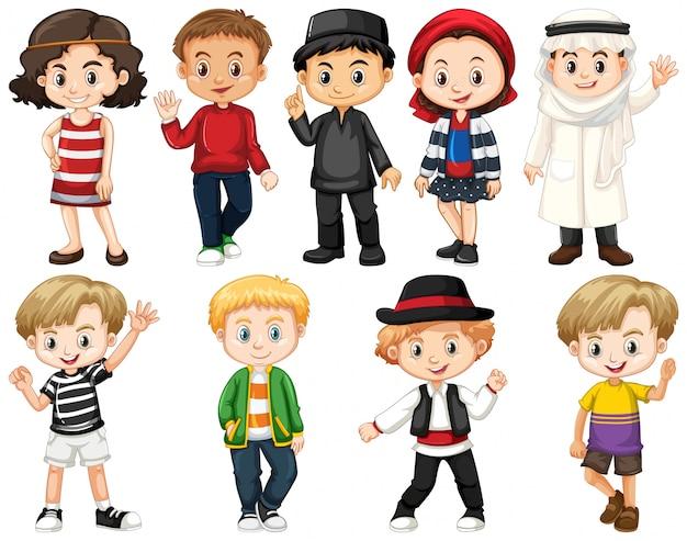 Conjunto de crianças ao redor do mundo