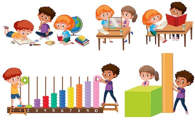 Conjunto de crianças aprendendo matemática