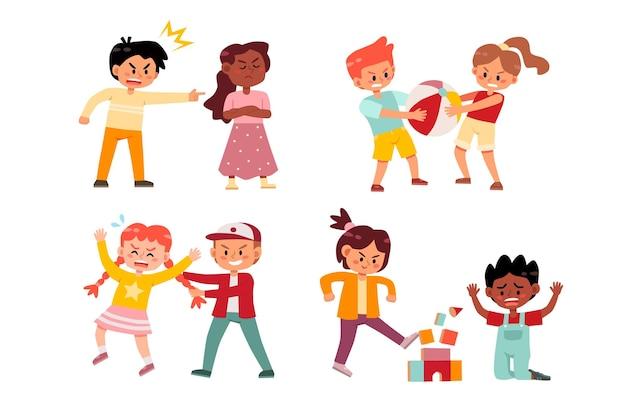 Conjunto de crianças brigando